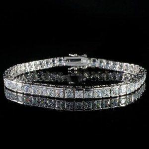 5 Ct princess cut diamond tennis bracelet solid go